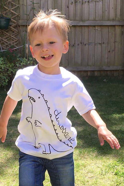 WEXBABY Dino White Short Sleeve Tee