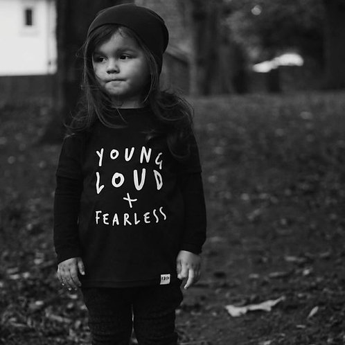 YOUNG, LOUD & FEARLESS Black Long Sleeve Tee