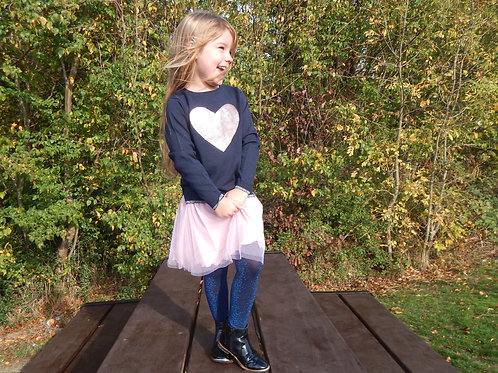 Blue Seven Sequin Heart Knitted Jumper in Navy