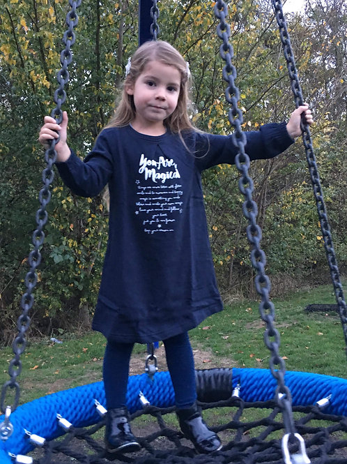 Blue Seven 'You are Magical' Fleece Dress in Navy