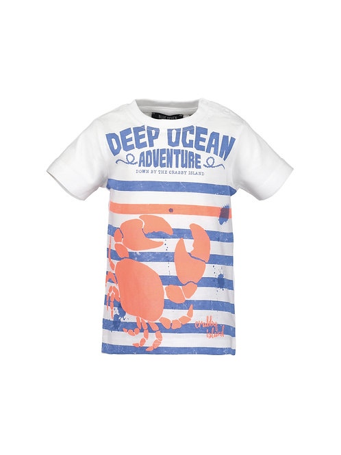 Blue Seven Mini Kids Striped White Deep Ocean Tee