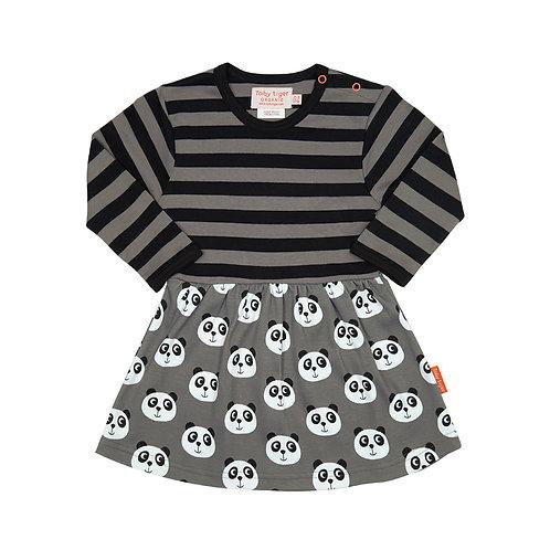 Toby Tiger Organic Cotton Stripe & Panda Dress