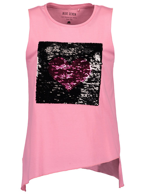 Blue Seven Sleeveless Sequin Heart Tee in Pink