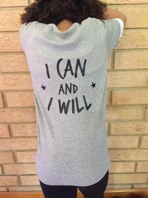 I CAN AND I WILL, Grey Marl Short SleeveTee