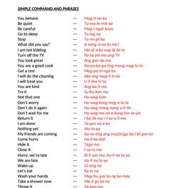 TAGALOG CLASS 2 SIMPLE COMMAND & PHRASES