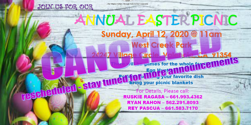 ANNUAL EASTER FAMILY PICNIC (rescheduled tbd)