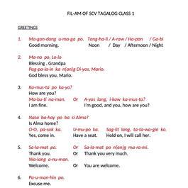 TAGALOG CLASS 1 - GREETINGS