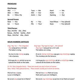 TAGALOG CLASS 2 PRONOUN & NOUN MARKERS