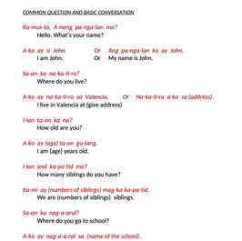 TAGALOG CLASS 1 - COMMON Q&A