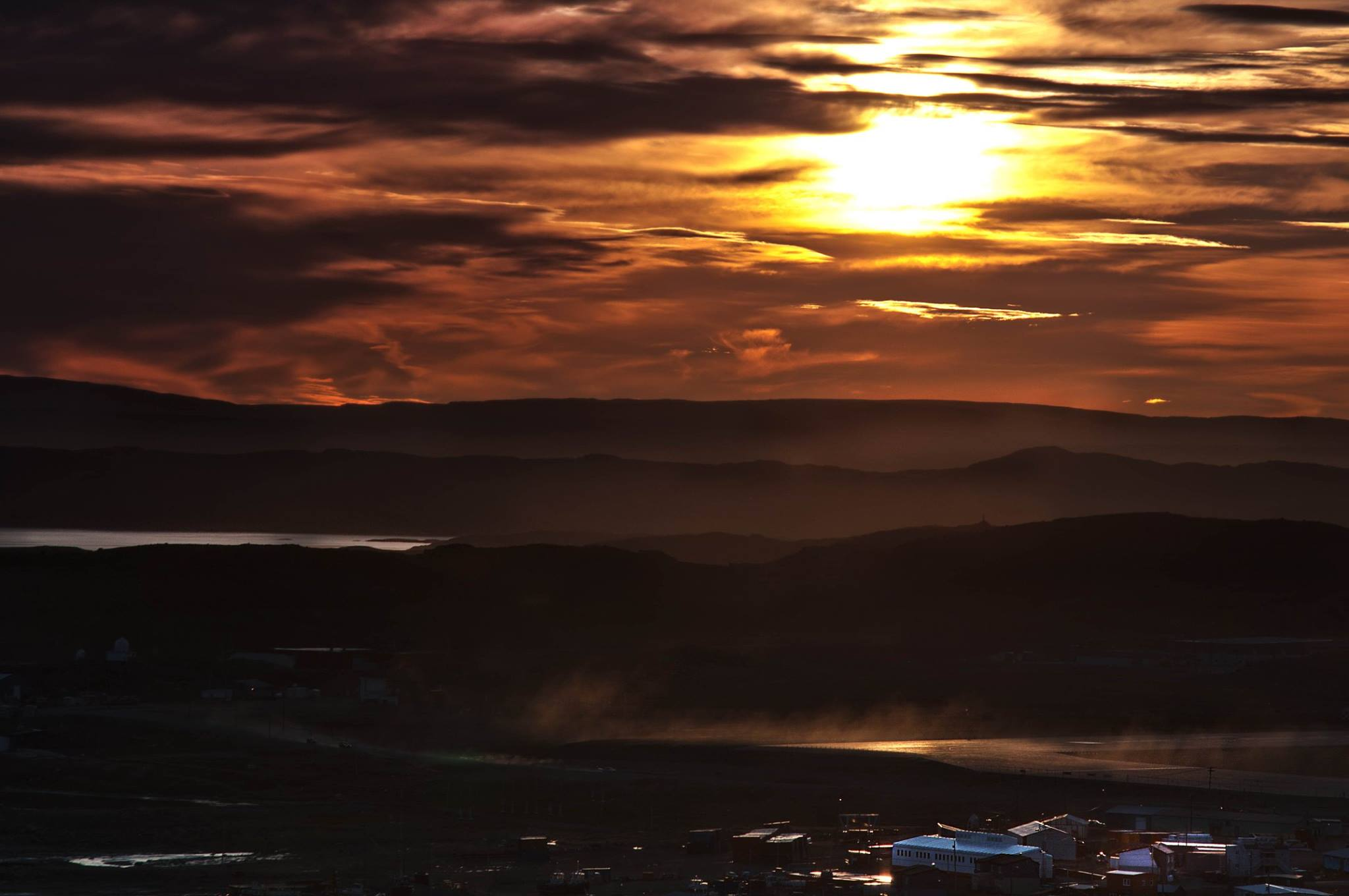 Arctic sunset view in Iqaluit