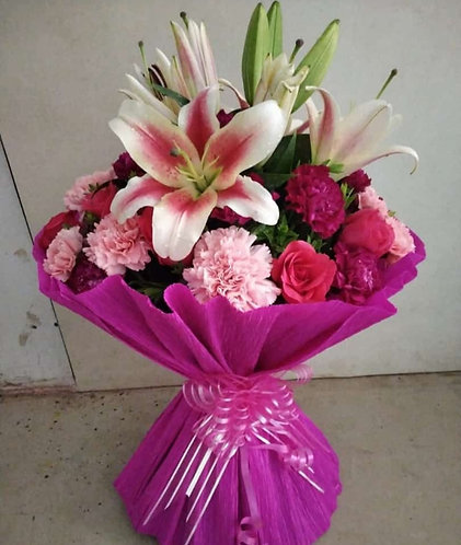 Multicolour Carnations and lillies