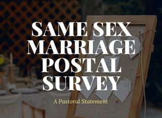 Same Sex Marriage Postal Survey: A Pastoral Statement