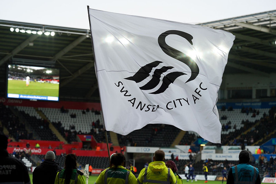 Swansea City Flag with stadium seats bac