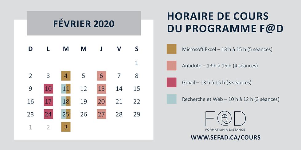 Cours prévus au calendrier du mois de février 2020. Voici un lien vers notre catalogue en ligne :http://www.sefad.c