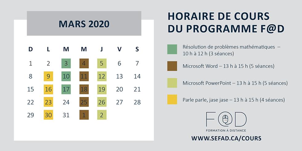 Cours prévus au calendrier du mois de mars 2020. Voici un lien vers notre catalogue en ligne :http://www.sefad.com