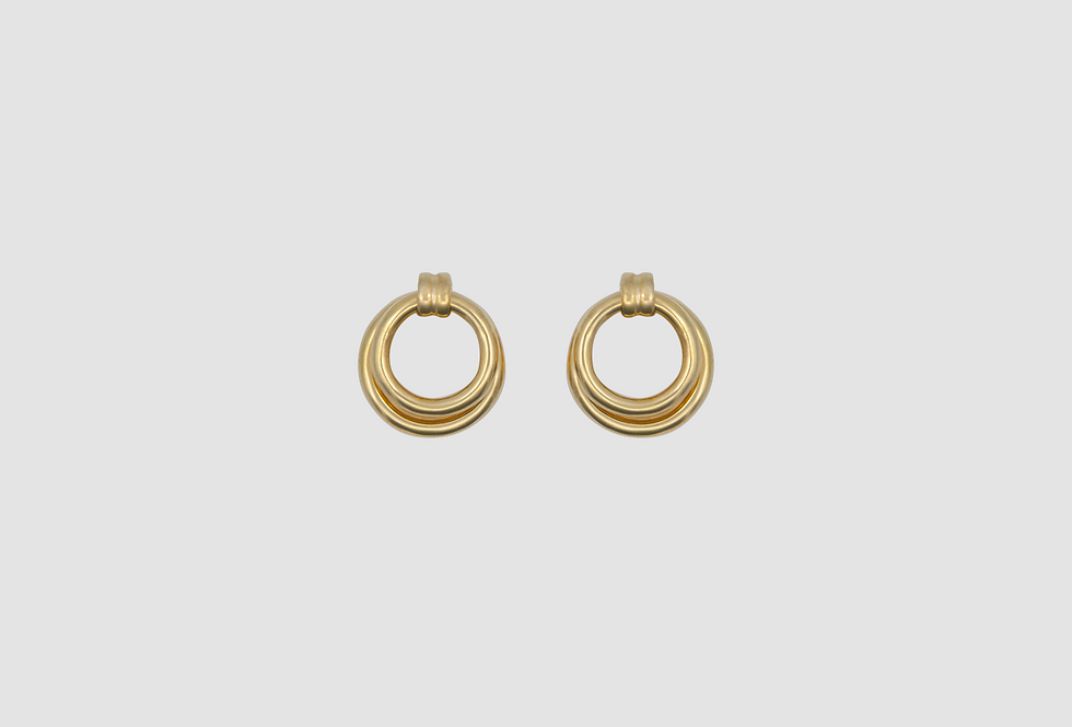 retro double hoops gold