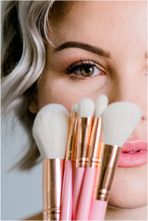Make up artist close up with brushes