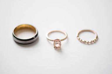 Engagement & wedding ring detail