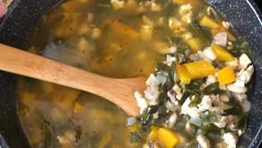 Chicken, sausage, collard greens, butternut squash and white bean soup