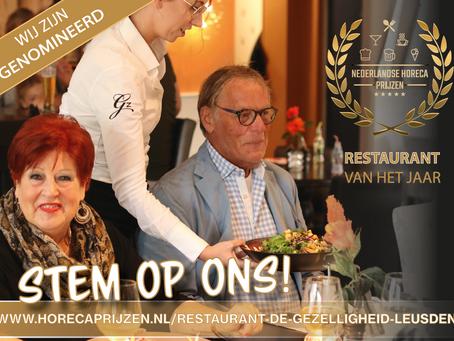 Nederlandse Horeca Prijzen nomineert Restaurant De Gezelligheid voor titel 'Restaurant van het Jaar'