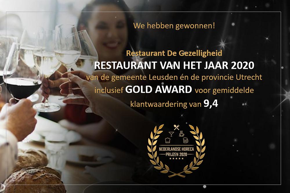 Restaurant van het Jaar 2020 - De Gezelligheid Leusden