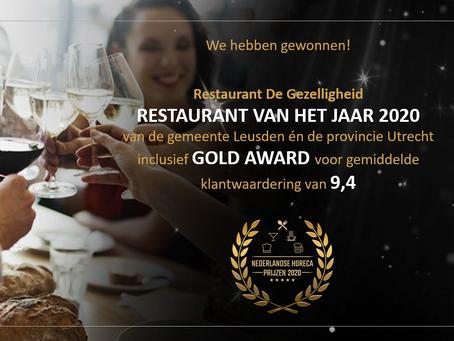 De Gezelligheid uitgeroepen tot 'Restaurant van het Jaar' in  gemeente Leusden én Provincie Utrecht