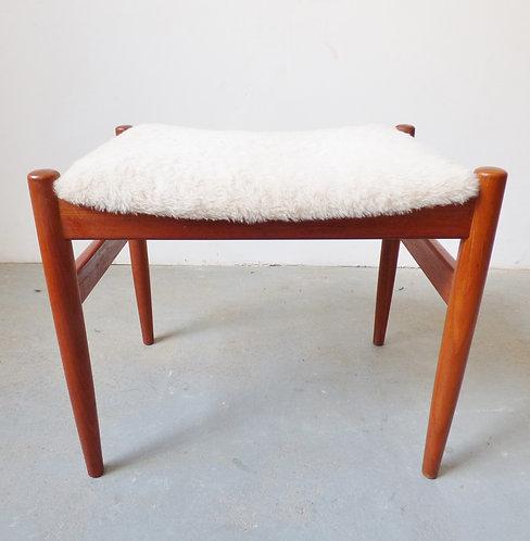 Danish teak and 'sheepskin' foot stool - 1960s