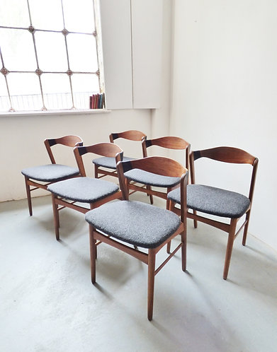 Set of 6 Danish teak and oak dining chairs