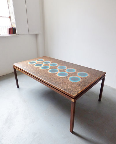 1970s Danish copper and rosewood coffee table