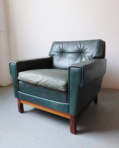 Vintage Danish green leather armchair with rosewood frame