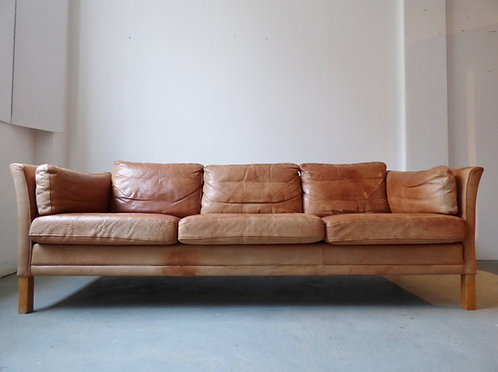 Danish tan leather 3 seater sofa , Mogens Hansen