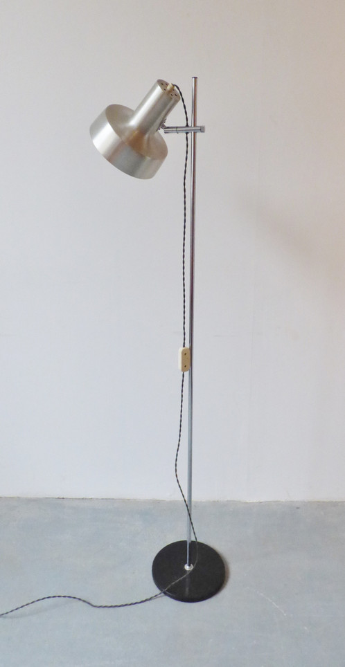 1960s danish aluminium floor lamp archive furniture vintage and 1960s 70s danish aluminium floor lamp with wide shade some rust mark to base re wired with khaki fabric flex aloadofball Image collections