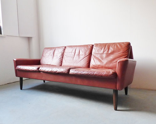 1950s Danish red leather 3 seater sofa