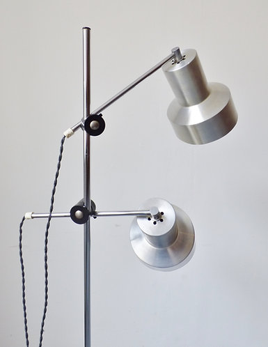 1960s Danish double aluminium standard lamp