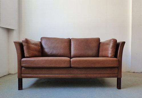Modern Danish brown leather 2 seater sofa - Mogens Hansen