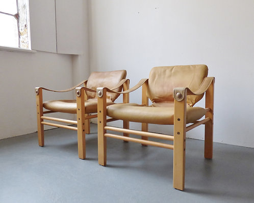 1970s tan leather safari chairs by Skipper