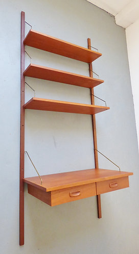 1960s Danish modular shelving unit with desk - PS system