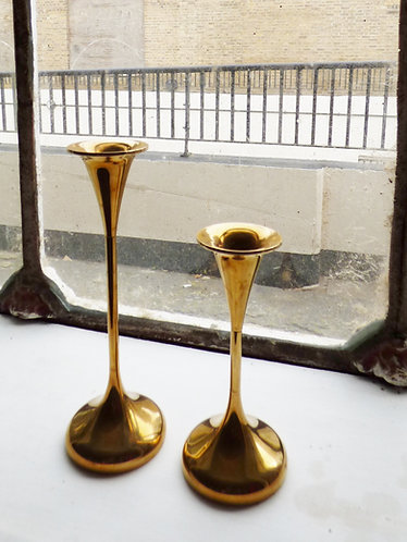 Pair of vintage Danish brass candle sticks