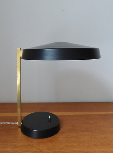 Mid-century brass and black desk lamp