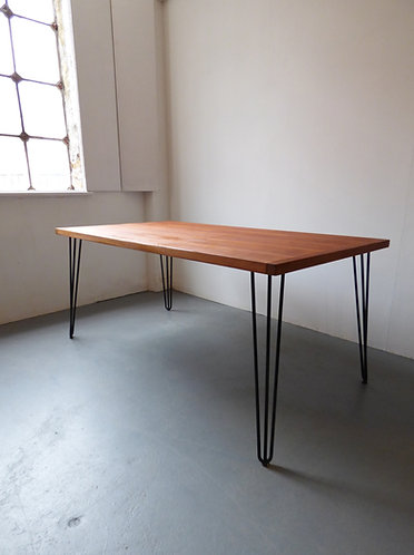 Danish teak dining table with hairpin legs