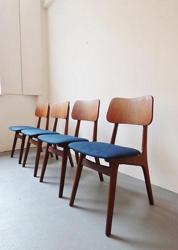 Set of 4 mid-century Danish teak and brass dining chairs