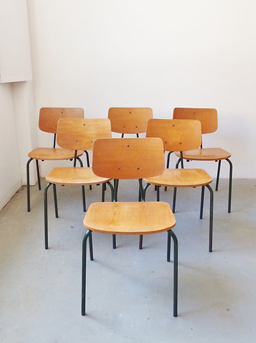 Vintage industrial Danish stacking chairs