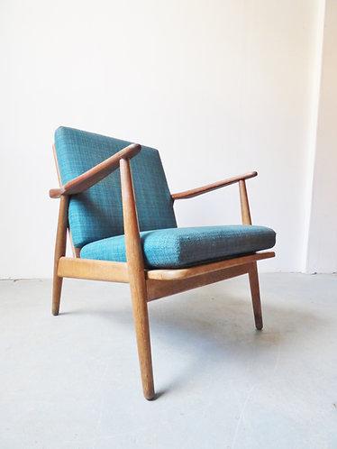 1950s Danish oak and teak lounge chair