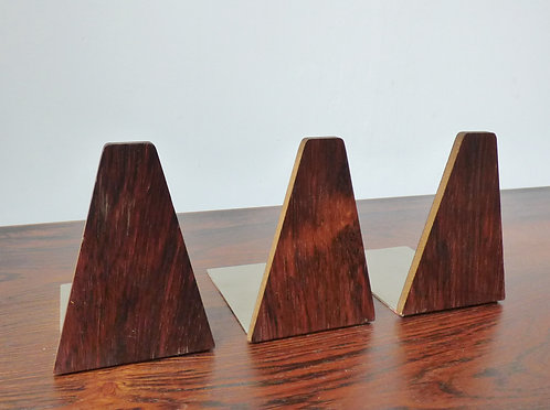 Set of 3 rosewood book ends