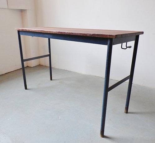 Vintage Danish teak and metal school table desk