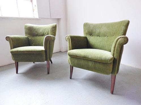 1950s Danish green velvet armchairs 2 available