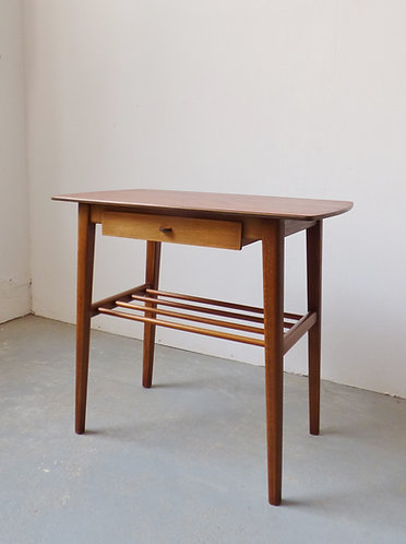 1950s Danish cofffee / bedside table with drawer and magazine shelf
