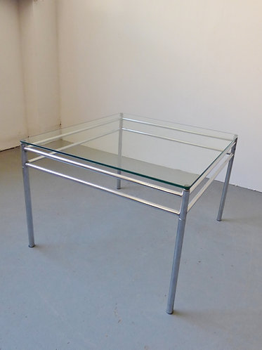 1970s chrome and glass coffee table