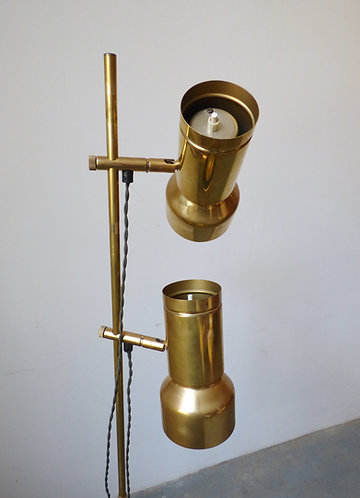 1970s Danish solid brass standard lamp