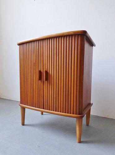 Small 1950s tambour cabinet